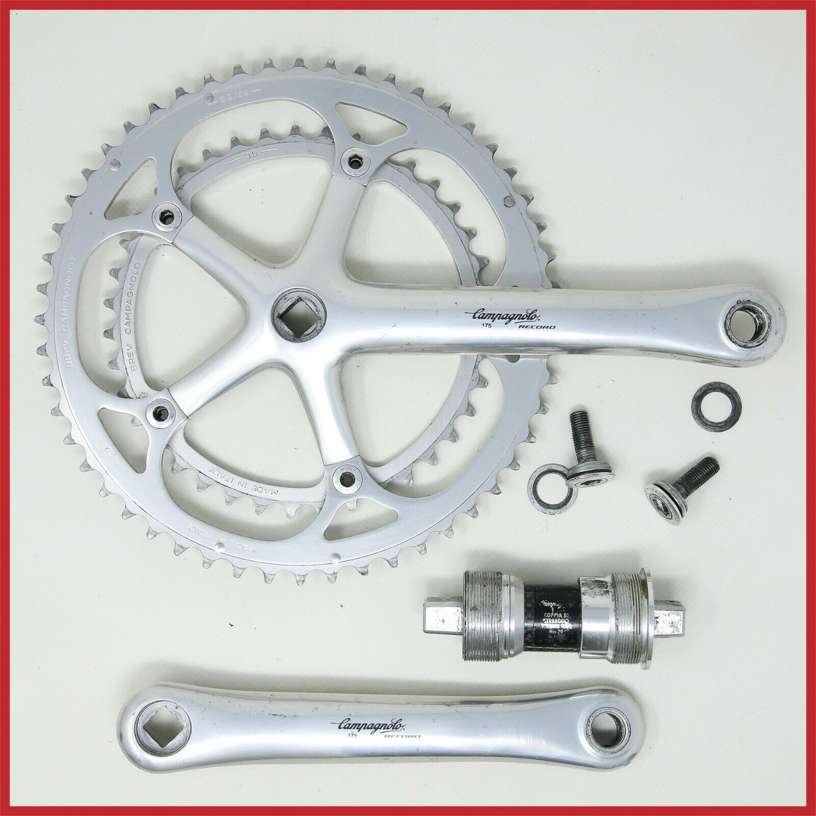 CAMPAGNOLO RECORD CRANKSET 175mm 5339T 9s SPEED SQUARE TAPER strada bicicletta bicicletta