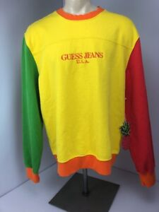 NWT Sean Wotherspoon x Guess USA Crewneck Farmers Market Coral Green ... 469c0d1f67ae