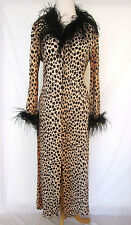 Vintage ANDREA GAYLE Leopard Feather Maxi Party Cocktail Zip Up Dress M