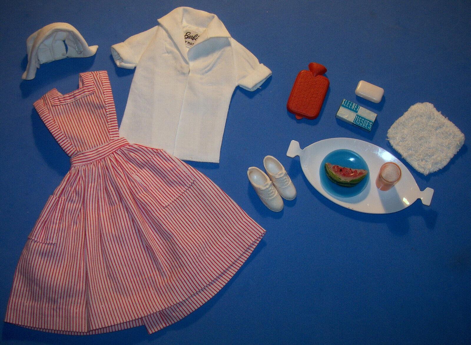 Vintage Muñeca Barbie Dulces alargados voluntario uniforme de enfermera Sombrero 1964