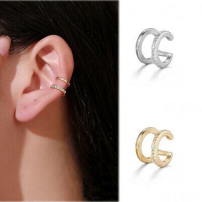 No Piercing Earring Double Band Ear Cuff CZ Cuff Earrings Rhinestone Ear Clip