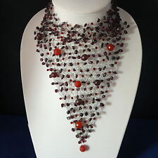 """Superb Garnet And Carnelian Gems With Crystal Choker Necklace 8""""x 7""""Inches Wide"""