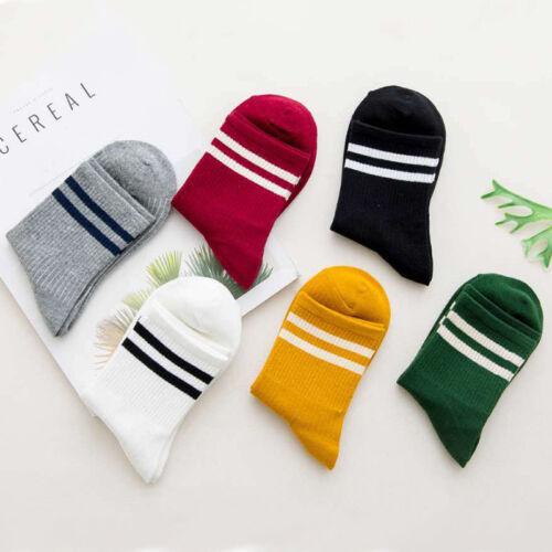 Fashion Women Cotton Striped Socks Soft Solid Short Sport Casual Hosiery Socks A