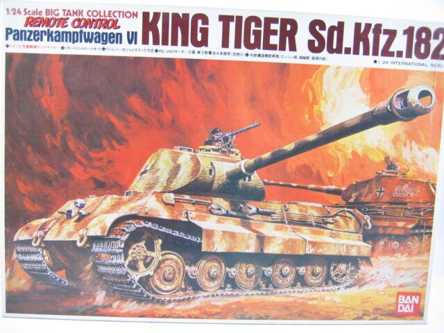 Vintage 1/24 Bandai WWII Pz VI  KING TIGER Tank  Porsche Turret  Wired R/C Kit