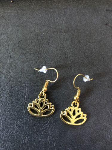 Lotus flower Gold Earrings 17 mm wide dangle on gold hooks AUSSIE MADE!