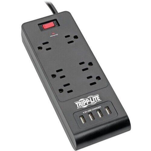 Tripp Lite Surge Protector Power Strip 6-Outlets 4 USB Ports 6ft Cord Black