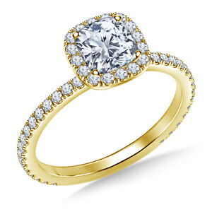 1.04 Ct Cushion Cut Genuine Moissanite Wedding Ring 14K Solid Yellow Gold Size 7
