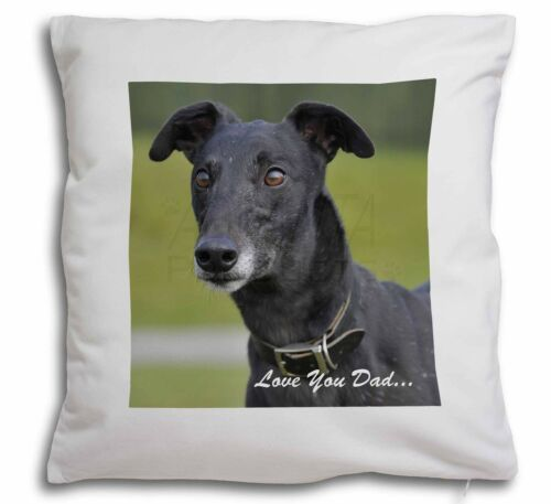 Black Greyhound /'Love You Dad/' Soft Velvet Feel Cushion Cover With I DAD-37-CPW