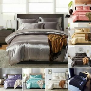 Silk-Colorful-Duvet-Blanket-Luxurious-Satin-Comforter-Bedding-Set-King-All-Sizes