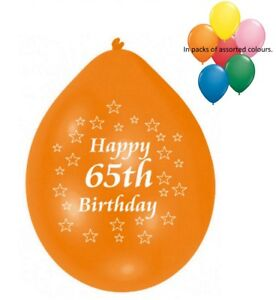 Image Is Loading 10 Pack Happy 65th Birthday Balloons Assorted Colours