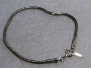 Image Is Loading Vintage Sterling Silver Snake Bracelet 7 75 034