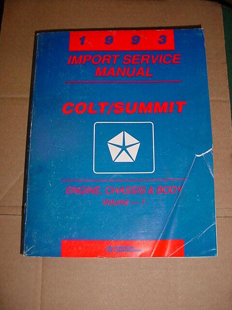 1993 Chrysler Import Shop Service Manual Colt  U0026 Summit