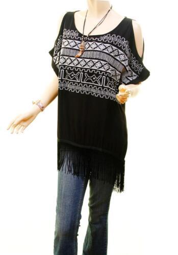 Boho Open Back Cold Shoulder Aztec Embroider Hi-Lo Fringe Blouse Tunic Shirt Top