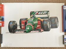 BENETTON Artist Signed 1989 FORMULA 1 ONE F1 Lithograph Print ALESSANDRO NANNINI
