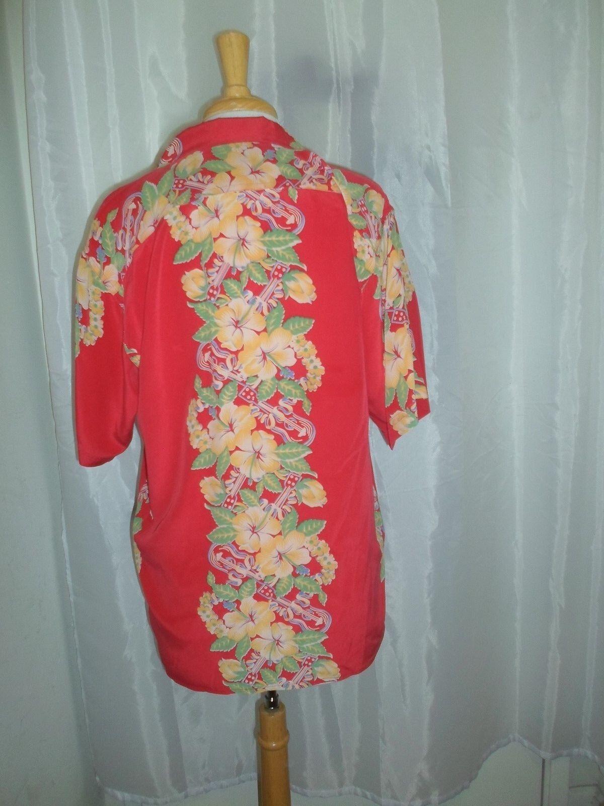 Avanti S rosso giallo Lei Lavender Ukulele Ukulele Lavender Hawaiian Aloha Shirt c2b314