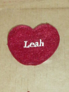 """Ganz  NEW Red Felt Name  Embroidered  """" LEAH"""" Heart  Craft Patch / Ornamen"""
