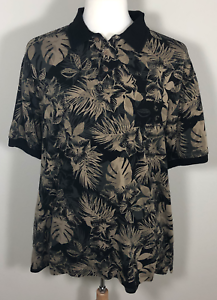CARIBBEAN-Pineapple-Mens-Hawaiian-Short-Sleeve-Casual-Polo-Shirt-Silk-Cotton-XL