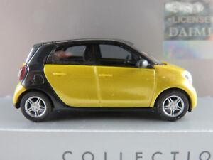 Busch-49555-Smart-Forfour-2014-in-gelbmetallic-schwarz-1-87-H0-NEU-OVP