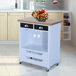 k chenwagen beistellwagen k chentrolley servierwagen mit gl serschiene holz wei ebay. Black Bedroom Furniture Sets. Home Design Ideas