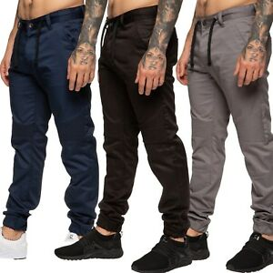 Mens-Enzo-Cuffed-Jeans-Chinos-Combat-Cargo-Cuff-Joggers-Black-Navy-Grey-28-48
