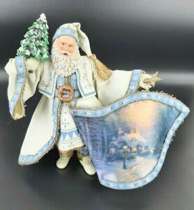 THOMAS KINKADE Frosty Christmas Santa Figurine Old World Blue Bradford gift