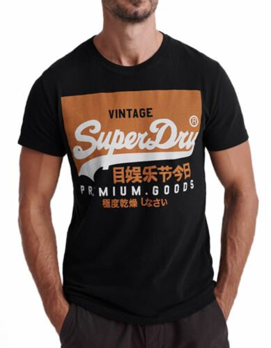Superdry New Vintage Logo Premium Authentic Crew Neck T-shirt Cotton Tee Black