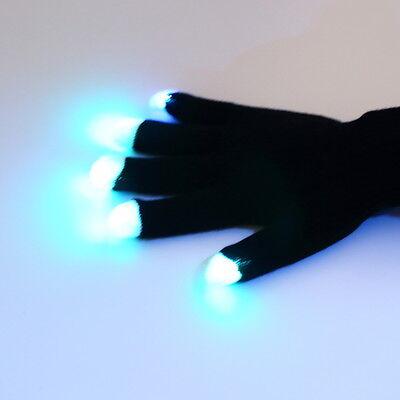 1pair X 7 Mode LED Gloves Rave Light Flashing Finger Lighting Glow Mittens Magic