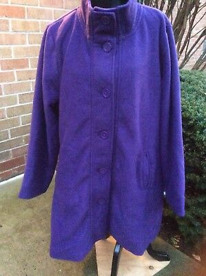9cfde7661ac NWT WOMAN WITHIN WOMEN PLUS SIZE FLEECE SWING COAT JACKET PURPLE 3X