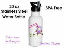 Owl Personalized stainless steel water bottles Owl water bottles kids cups