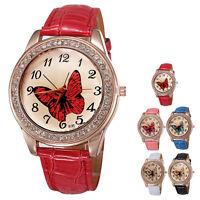 Women Analog Butterfly Quartz Leather Band Charm Trend Wrist Watch 2016 Fashion