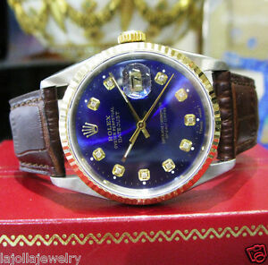 Mens-Vintage-ROLEX-Oyster-Perpetual-Datejust-Stainless-Steel-Gold-DIAMOND-Watch