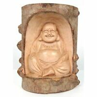 Happy Buddha Trunk Wood Carving Sculpture 20cm Solid Crocodile Wood Hand Carved