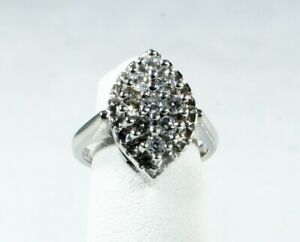 Diamond Cluster Dinner Ring 14k White Gold Half Carat Of Diamonds Ebay