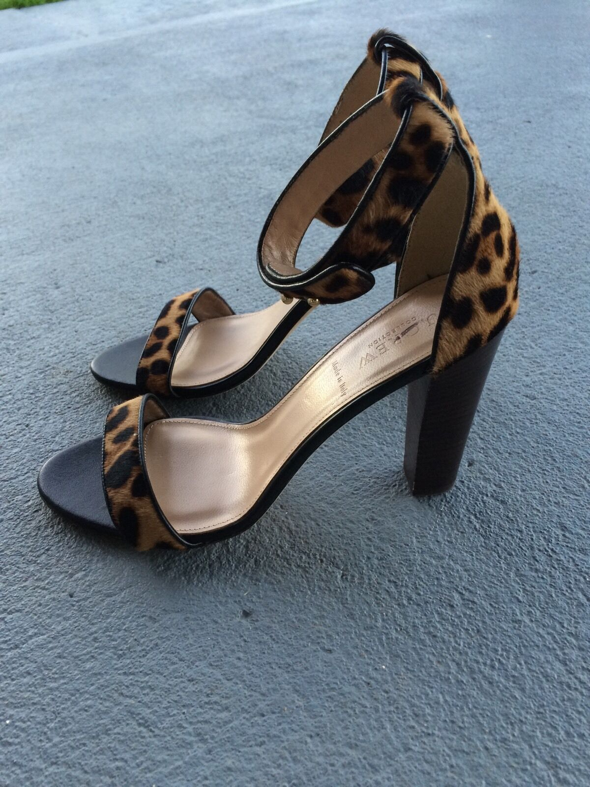 J CREW COLLECTION Lanie Calf-Hair Stacked Heel Heel Heel Sandale Größe 9 325 Leopard #A0512 5b1dc9