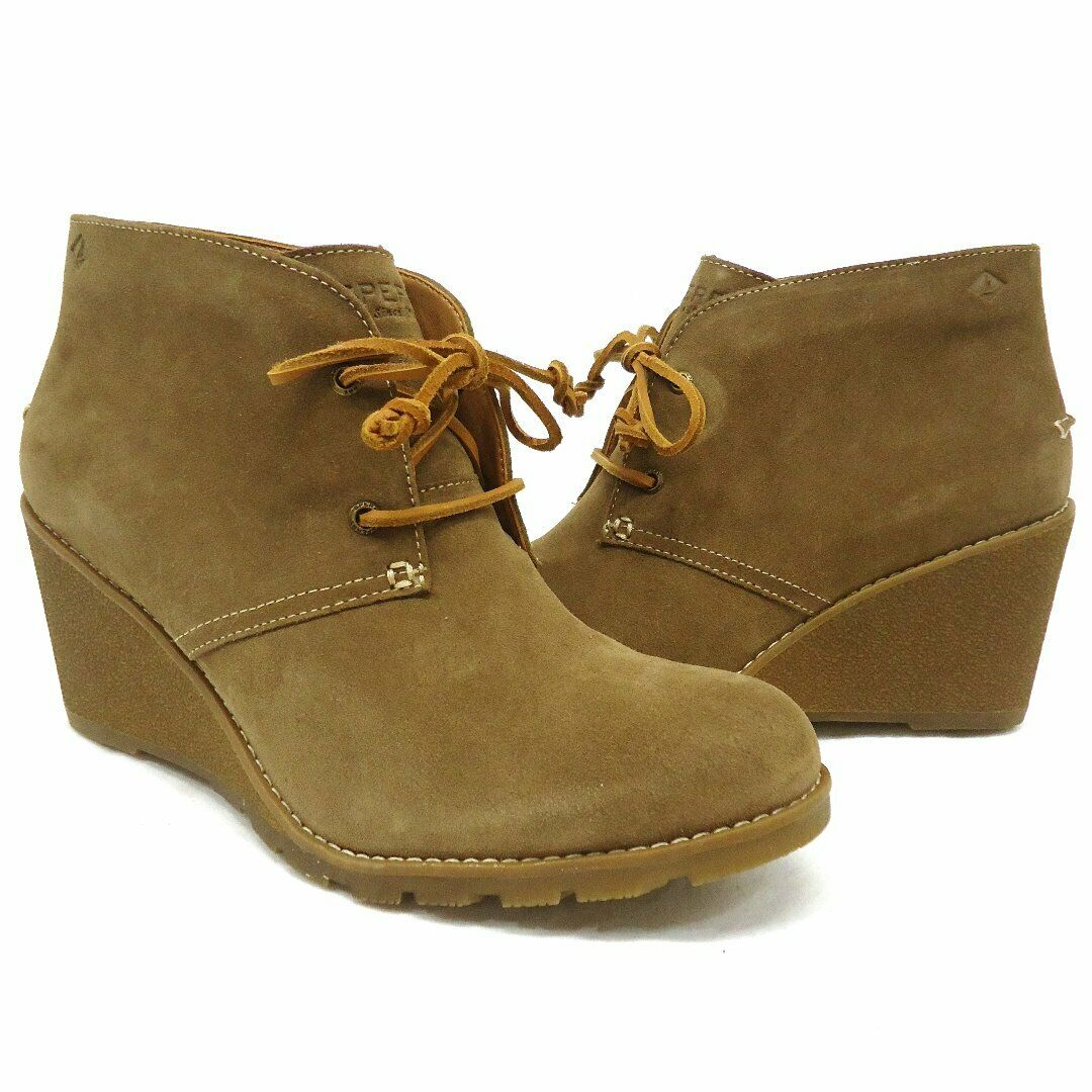 NEW  Sperry Top-Sider Stella Prow Taupe Lace Up Ankle Wedge Booties Size 11M