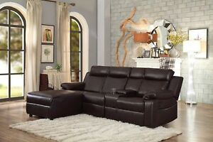 Small Space Brown Large Recliner Sectional Sofa Couch Chaise Lounge
