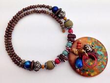 Zevar by Treska Melange Beaded Coil Necklace with Circular Wooden Pendant