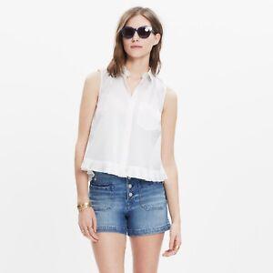 79f11353a5117b Madewell Top Blouse Pagoda Crop White Ruffle Shirt Women s Size XL ...