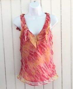Milly-of-New-York-Off-Women-4-Top-100-Silk-Sleeveless-Lined-Pink-Orange-Yellow