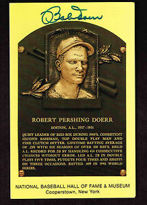 BOBBY DOERR SIGNED Hall Fame Plaque HOF Yellow  Postcard Autographed  COA