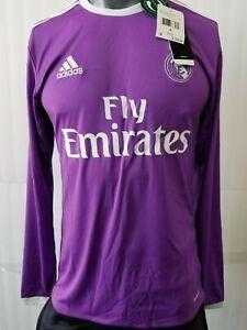 Adidas Real Madrid Away Long Sleeve Men S Jersey 16 17 Purple Ebay