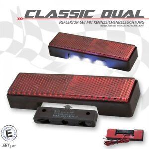 Universal-Reflecteur-et-DEL-plaque-d-039-immatriculation-eclairage-Catadioptre-Rouge-Moto-Voiture