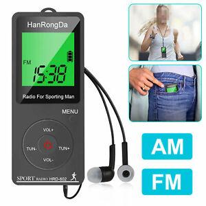 poche numérique portable LCD AM FM radio stéréo écouteurs rechargeables USB