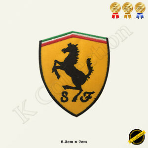 Ferrari Car Brand Logo Embroidered Iron on /Sew On Patch/Badge For Clothes etc