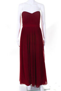 Jenny-Yoo-Collection-Womens-Pleated-Strapless-Gown-Red-Size-10