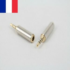 Prise-Adaptateur-Fiche-JACK-male-2-5mm-To-femelle-3-5mm-Audio-Casque-Stereo