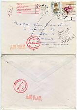 THAILAND SIAM to NEW ZEALAND AIRMAIL UNDELIVERED + RETURNED MOUNT ROSKILL BRANCH