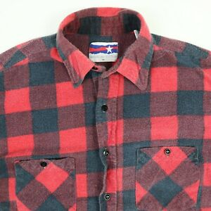 Vtg-Flannel-Shirt-Mens-M-Nicely-Faded-Buffalo-90s-Plaid-Trucker-Grunge-Skate-USA