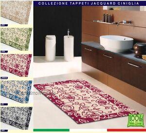 Tappeto ciniglia 100x150 5 colori moderno arredo sala camera bagno rose fiore ebay - Tappeto bagno moderno ...