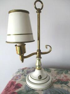 Details About Small Antique Off White Gold Brass Tole Candlestick Desk Table Night Light Lamp